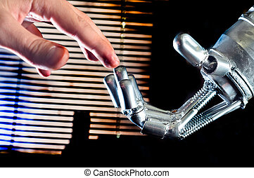 contact, entre, humain, et, robot
