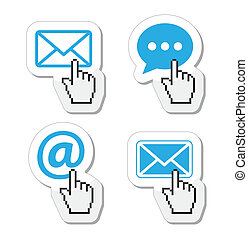 Contact - envelope, email icons - Blue contact icons with ...