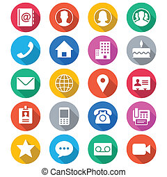 Contact flat color icons. Simple vector icons. Clear and ...