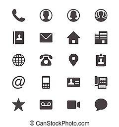 contact, glyph, icônes