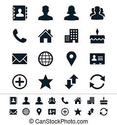 contact, icônes
