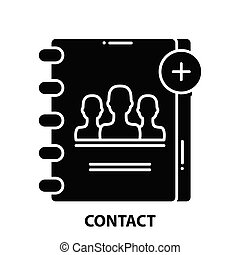 contact icon, black vector sign with editable strokes, concept illustration