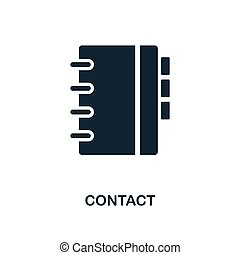 Contact icon. Monochrome style design from business icon collection. UI. Pixel perfect simple pictogram contact icon. Web design, apps, software, print usage.