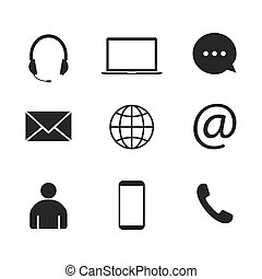 Contact Icon set. Vector illustrations. Flat design.