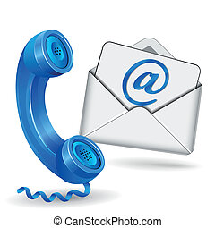 contact icon - vector illustration of contact with phone and...