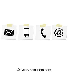 Contact icons set - envelope, mobile, phone, mail