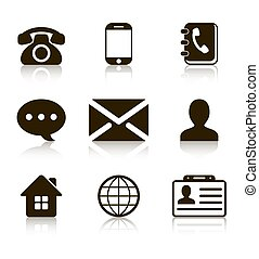 Contact Icons Set with reflection