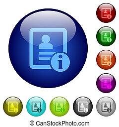 Contact information color glass buttons - Contact ...