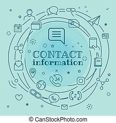 Contact information concept. Different thin line icons...