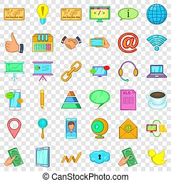 Contact information icons set, cartoon style