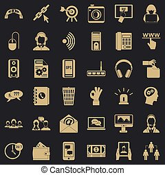 Contact information icons set, simple style