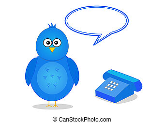 Contact information with telephone - Cartoon bird with ...