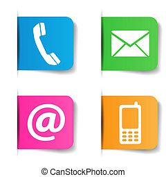 contact, internet, nous, icônes