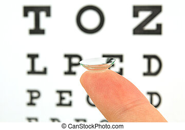 Contact lens on finger and snellen eye chart. The eye test chart is shown blurred in the background.
