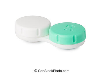 Contact lens case isolated on white - Closed contact lens...