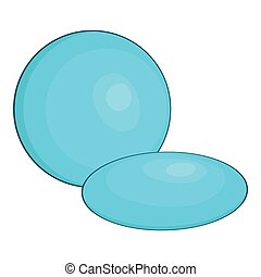 Contact lens icon, cartoon style