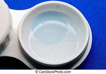 Contact lens in a solution