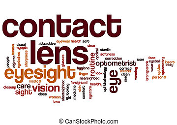 Contact lens word cloud concept with eyesight optometry ...