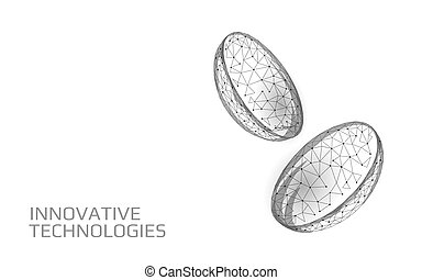 Contact lenses 3D low poly concept. Healthcare eye vision ...