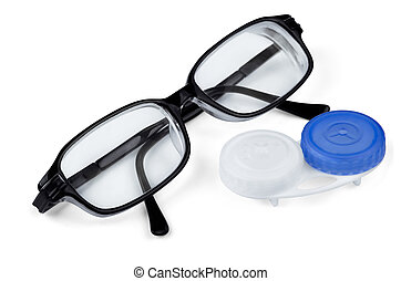 Contact lenses and glasses isolated on white