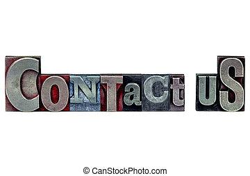 contact, letterpress, nous