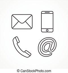 contact, ligne, icônes