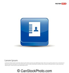 Contact List Icon - 3d Blue Button