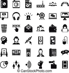 Contact mail icons set, simple style