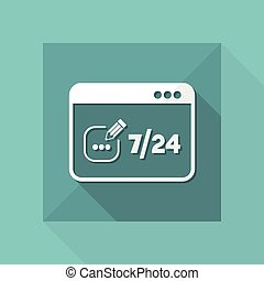 Contact message 7/24 - Vector flat icon