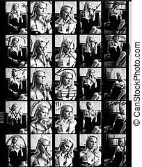 Contact or Proof Sheet from Retro Photo Shoot - Scanned 35...
