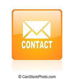 contact orange square glossy web icon