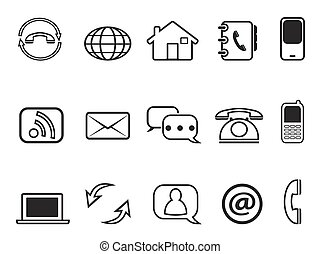 contact outline icons set - isolated contact outline icons...