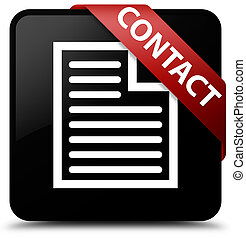 Contact (page icon) black square button red ribbon in corner