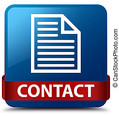 Contact (page icon) blue square button red ribbon in middle