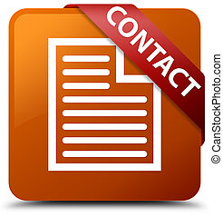 Contact (page icon) brown square button red ribbon in corner