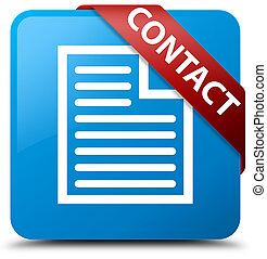 Contact (page icon) cyan blue square button red ribbon in corner