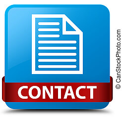Contact (page icon) cyan blue square button red ribbon in middle
