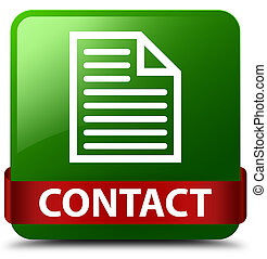 Contact (page icon) green square button red ribbon in middle