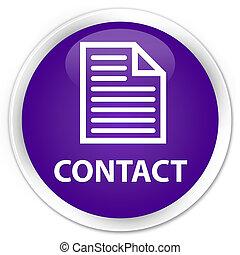 Contact (page icon) premium purple round button