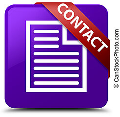 Contact (page icon) purple square button red ribbon in corner