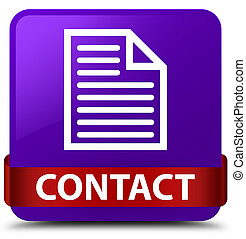 Contact (page icon) purple square button red ribbon in middle