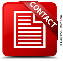 Contact (page icon) red square button red ribbon in corner