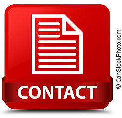 Contact (page icon) red square button red ribbon in middle