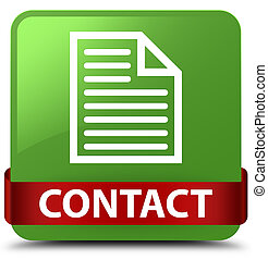 Contact (page icon) soft green square button red ribbon in middle