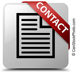 Contact (page icon) white square button red ribbon in corner