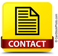 Contact (page icon) yellow square button red ribbon in middle