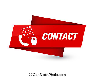 Contact (phone email and mouse icon) red premium tag sign