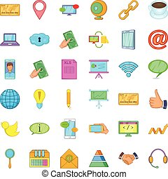 Contact phone icons set, cartoon style