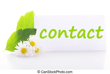 contact us concept with word on nature still life