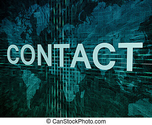 Contact text concept on green digital world map background